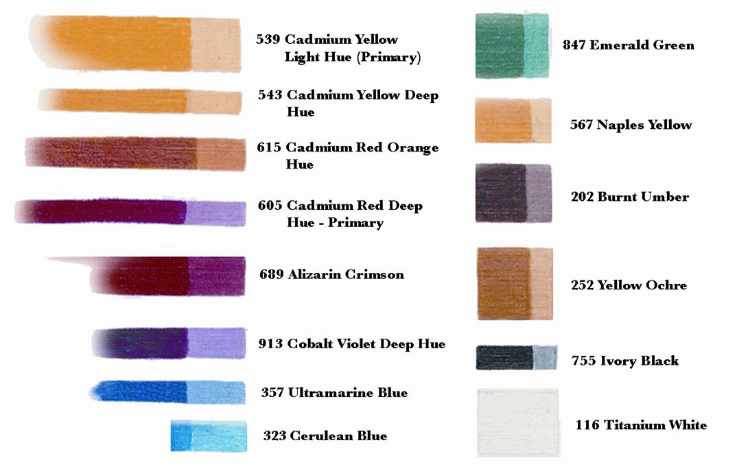 sennelier oil paint colour chart